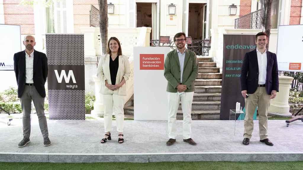 Javier Megias, director de Startups de Fundación Innovación Bankinter;  Paloma Castellano, directora de Wayra Madrid; Juan Moreno Bau, director general de Fundación Innovación Bankinter; y Antonio Iglesias, director general de Endeavor Spain durante la presentación del programa Scaleup Spain Network.