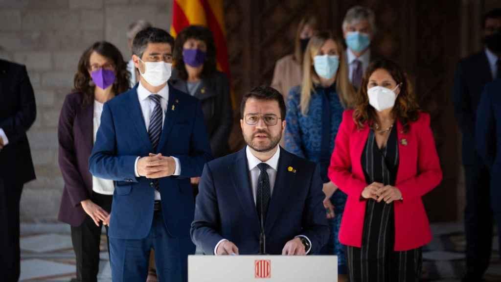 Comparecencia del presidente de la Generalitat, Pere Aragonès, tras la primera reunión del nuevo 'Govern'.