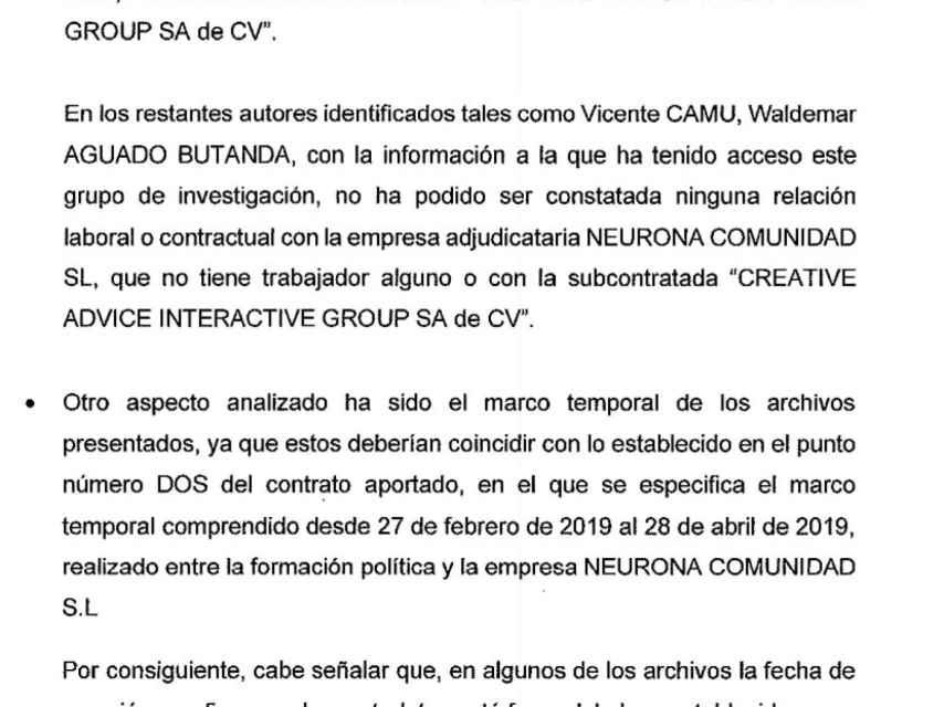 La UDEF destaca en su informe que buena parte de los vídeos entregados por Podemos no corresponden a las Elecciones Generales de 2019.