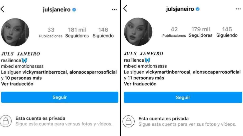 Los cambios que ha experimentado la cuenta de Instagram de Julia Janeiro.