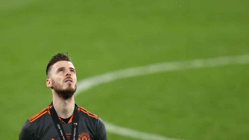 De Gea se lamenta tras perder la final de la Europa League contra el Villarreal
