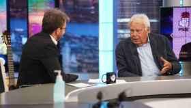 El expresidente Felipe González, este miércoles con Pablo Motos en El Hormiguero. Foto: Antena 3