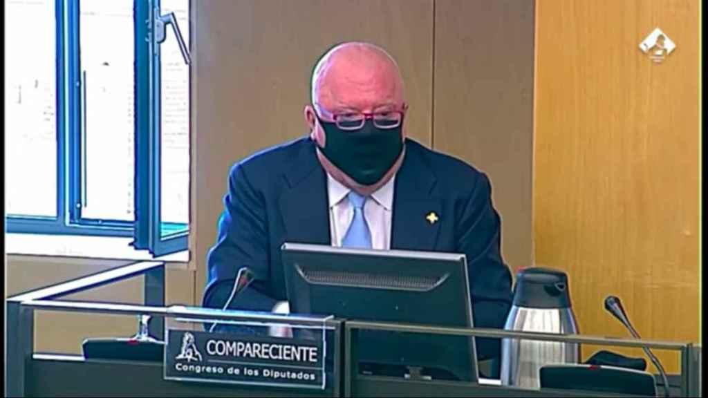Villarejo, este jueves, en la comisión parlamentaria sobre la 'operación Kitchen'.