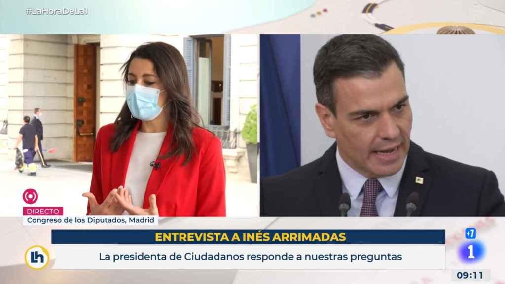 Inés Arrimadas, presidenta de Ciudadanos, entrevistada en TVE.