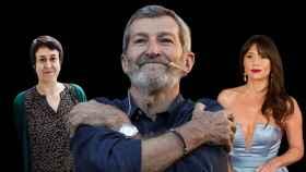 La 'niñera de Podemos', Teresa Arévalo (i), Julio Rodríguez y la actriz María Botto.