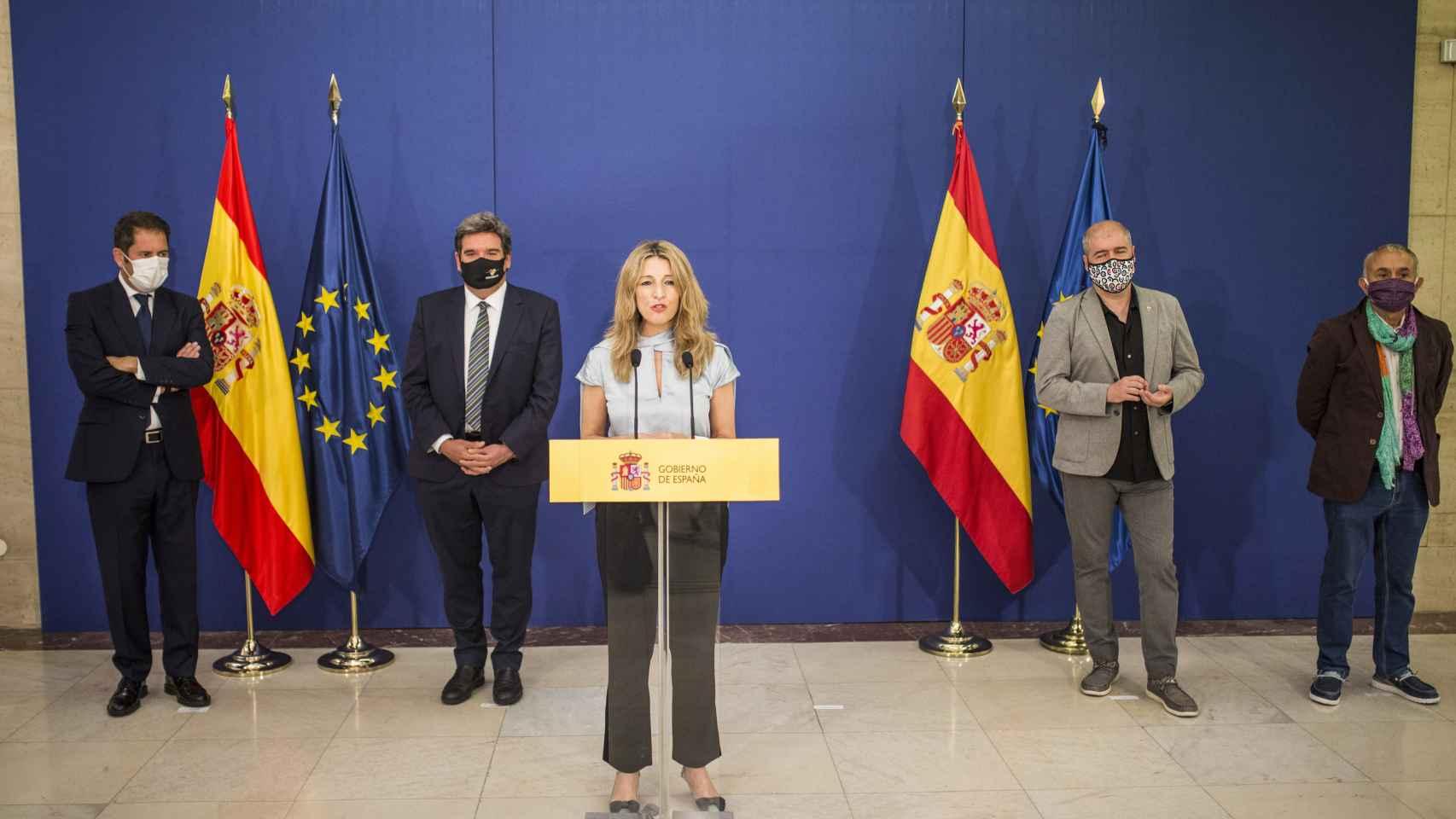 Yolanda Díaz, Gerardo Cuerva, Unai Sordo y Pepe Álvarez.
