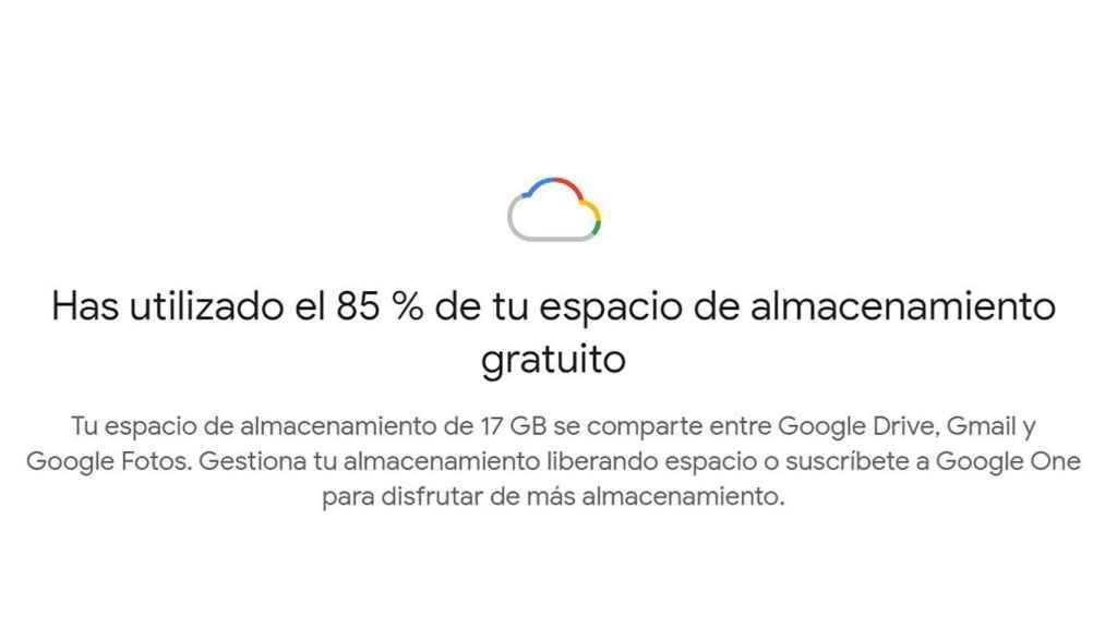 Espacio usado de almacenamiento en Google One