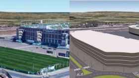 Doble imagen de cómo estaba el entorno del estadio con los campos de entrenamiento, donde irá el centro comercial.