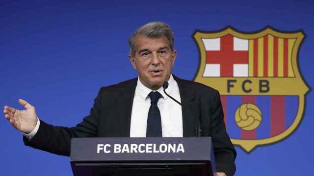 Laporta durante su comparecencia para analizar la situación del FC Barcelona