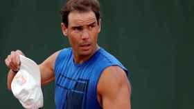 Rafa Nadal, entrenando en Roland Garros 2021