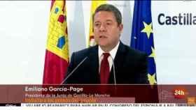 Momento que recogió TVE de la declaración de Page ayer en Toledo