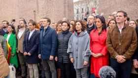 Pablo Casado, Albert Rivera y Santiago Abascal en la concentración en la Plaza de Colón (Madrid) bajo el lema 'Por una España unida'  (Europa Press. Archivo)