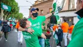Aitor Gómez en la celebración del ascenso