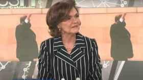La vicepresidenta primera del Gobierno y ministra de Presidencia, Carmen Calvo, este viernes en Canal Sur.