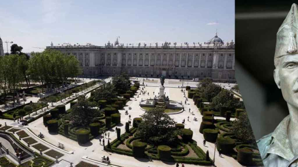 La Plaza de Oriente de Madrid junto a la estatua de Salvador Amaya en honor a la Legión.
