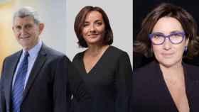 José Manuel Pérez Tornero, presidente de RTVE; Pepa Bueno, presentadora de 'Hora 25'; y Montserrat Domínguez, directora de contenidos de Cadena Ser.