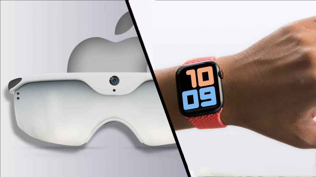 Fotomontaje con el Apple Watch y las gafas de Apple.