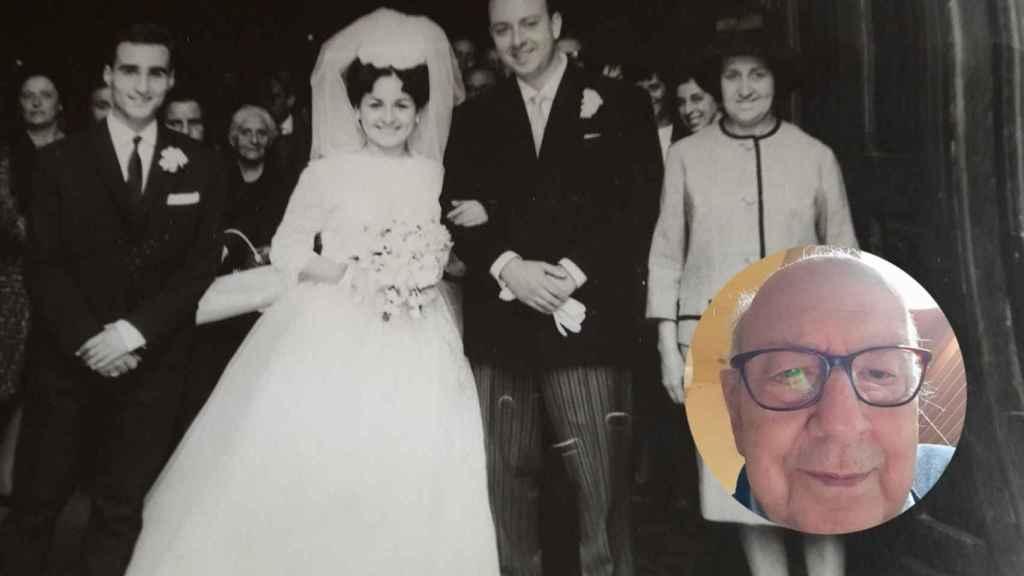Fotomontaje de Alfonso en una foto actual y con su mujer en su boda.