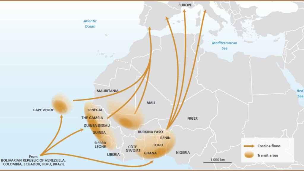 Rutas de la droga procedente de Sudamérica a través del sáhara.