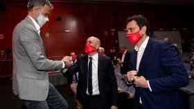 Luis Enrique, Luis Rubiales y José Francisco Molina, durante la rueda de prensa de la convocatoria de España para la Eurocopa