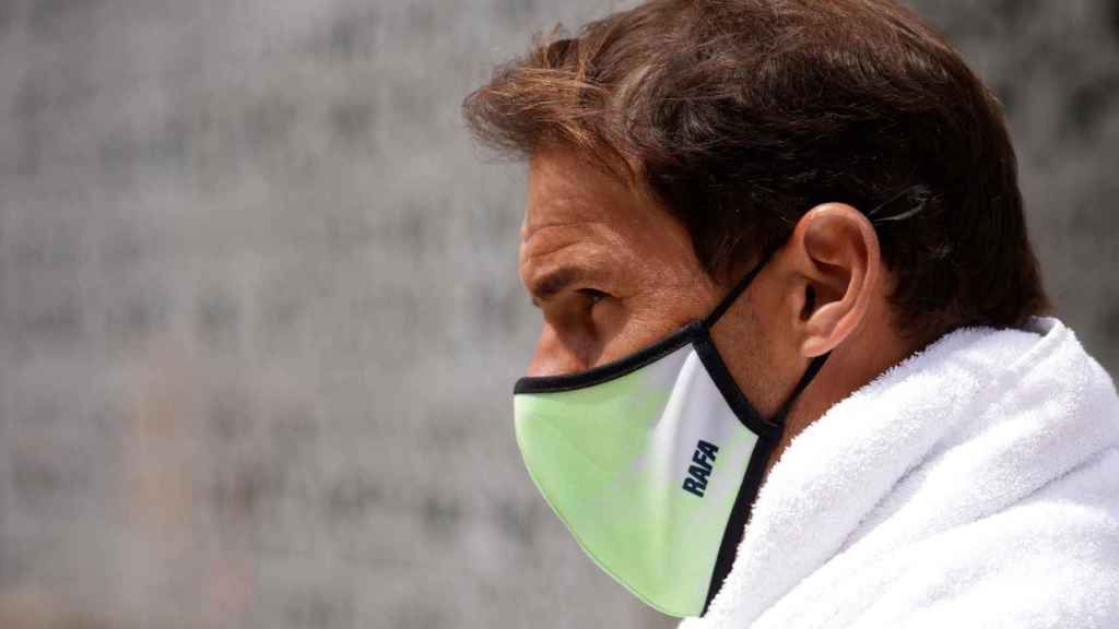 Nadal, tras un entrenamiento en Roland Garros.