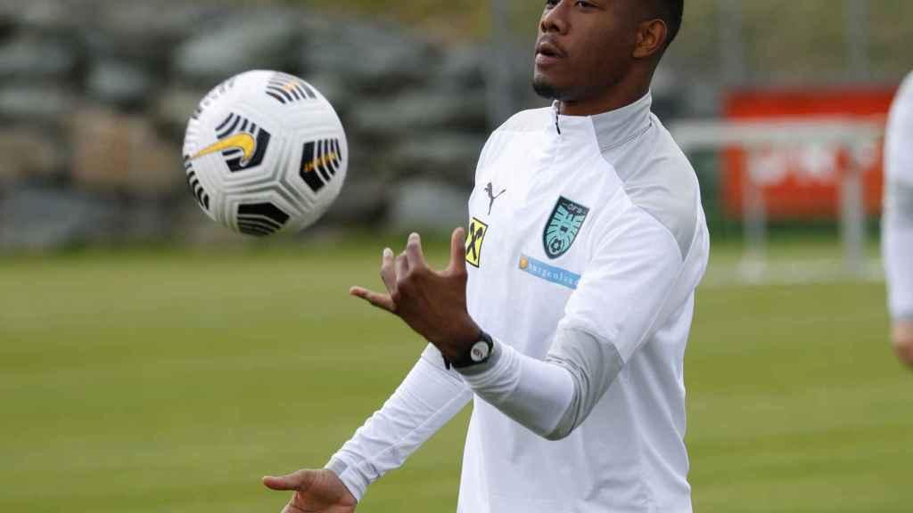 David Alaba, en un entrenamiento de la selección de Austria