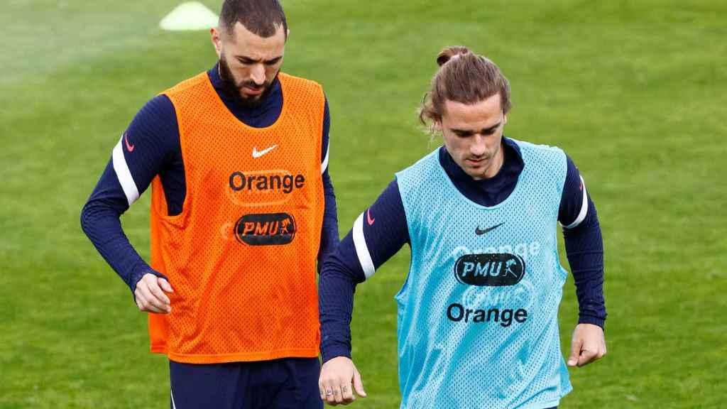 Karim Benzema y Antoine Griezmann, en un entrenamiento de la selección de Francia