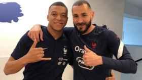 Kylian Mbappé y Karim Benzema, durante la concentración de la selección de Francia