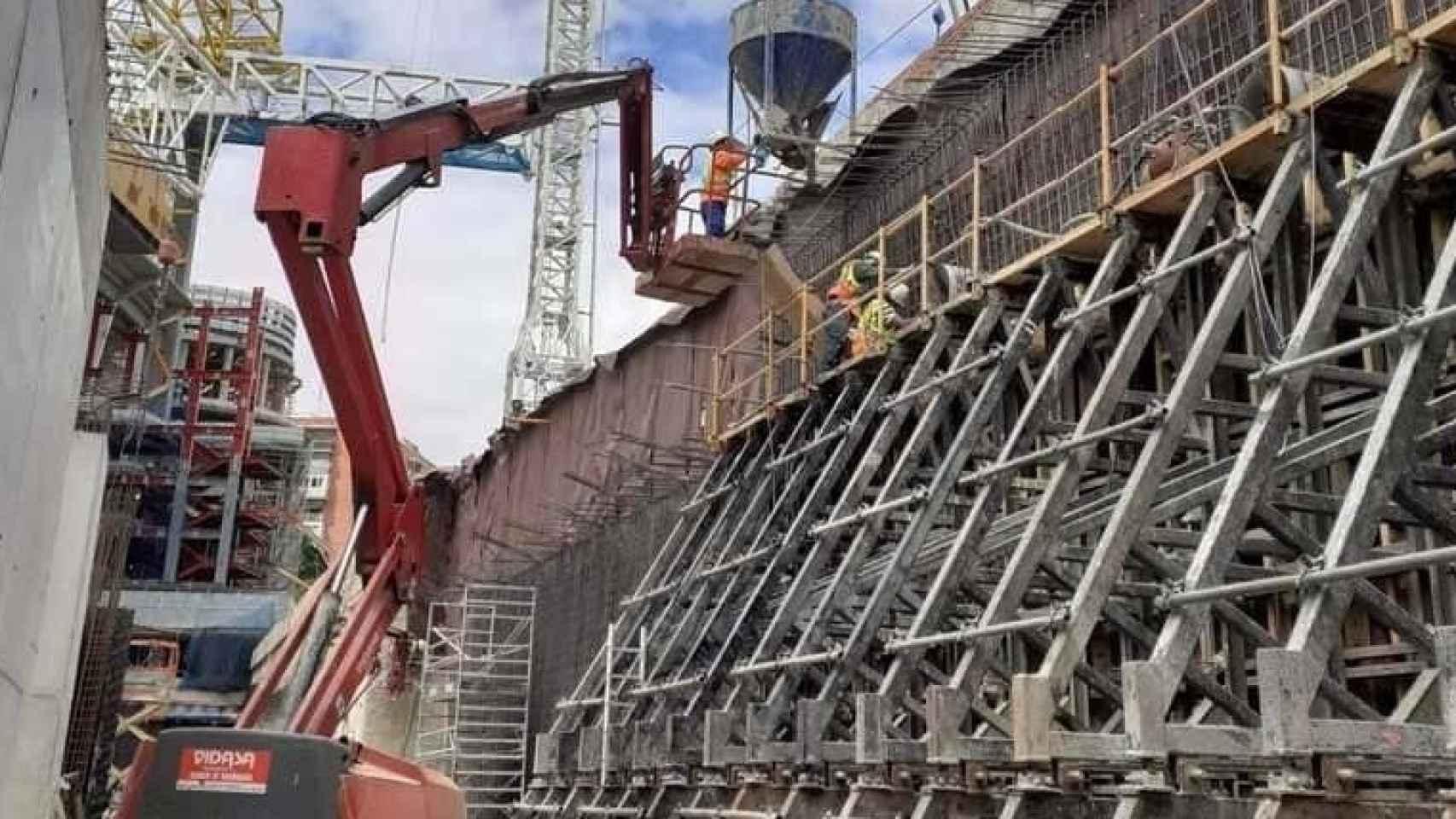 Las obras del parking del Santiago Bernabéu a finales de mayo de 2021