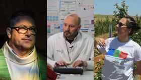 Nacho (cura), Antonio (médico) y Nuria (agricultora).