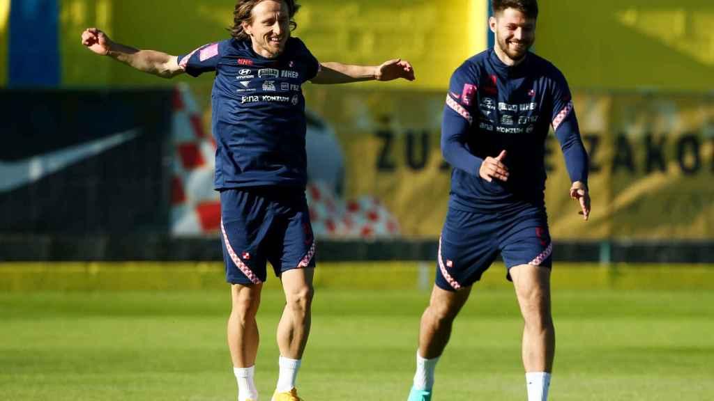 Luka Modric, entrenando con la selección de Croacia