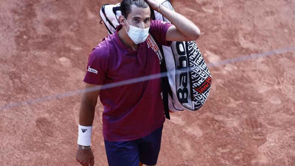 Thiem, tras perder con Andújar en la primera ronda de Roland Garros.