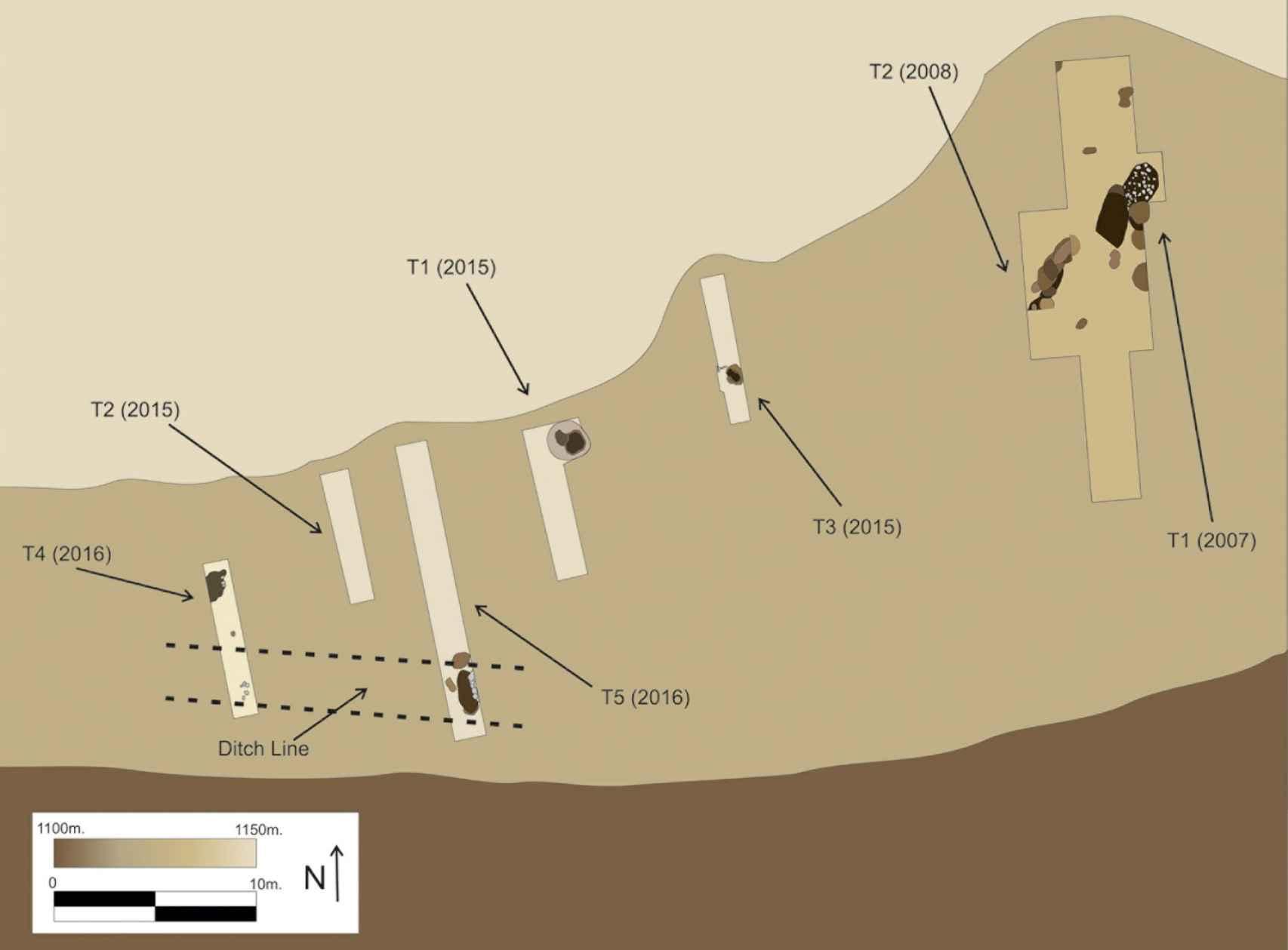 Plano de las excavaciones en la necrópolis y las zanjas abiertas en cada campaña.