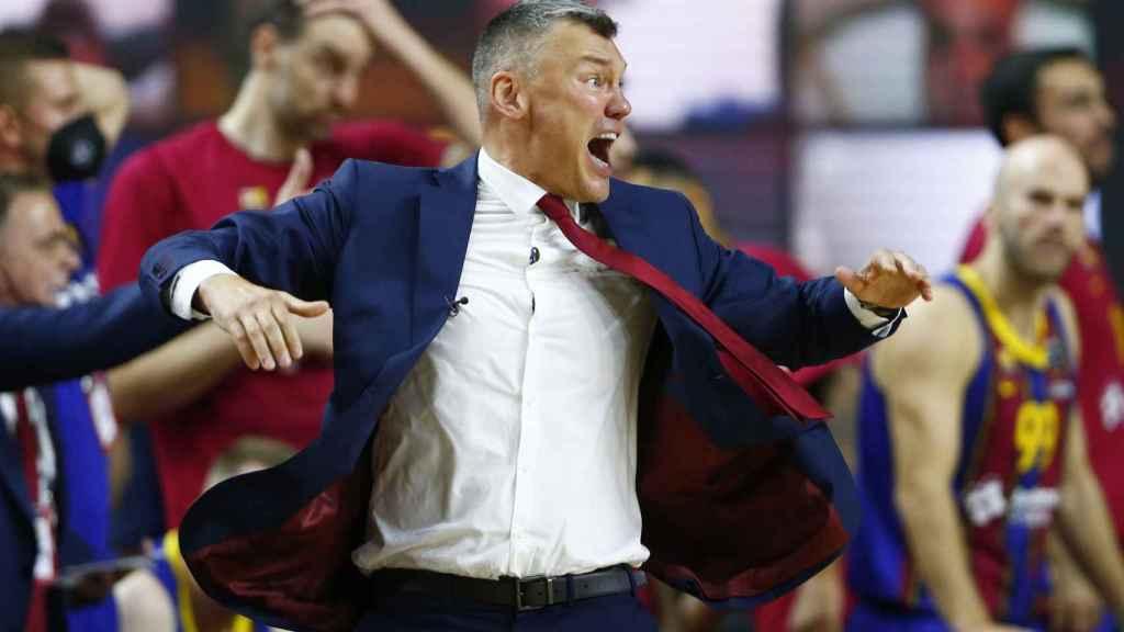 Jasikevicius, muy enfadado durante la final de la Euroliga