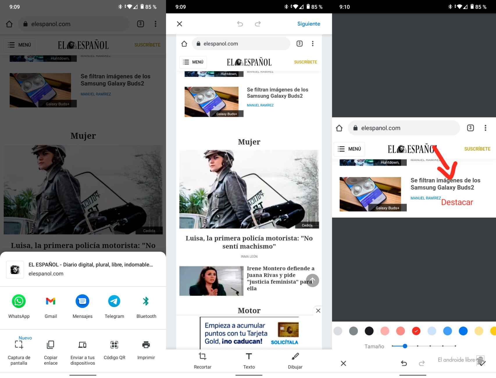 Captura de pantalla en Chrome