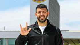 Sergio 'Kun' Agüero, en las instalaciones del Barcelona tras el anuncio de su fichaje
