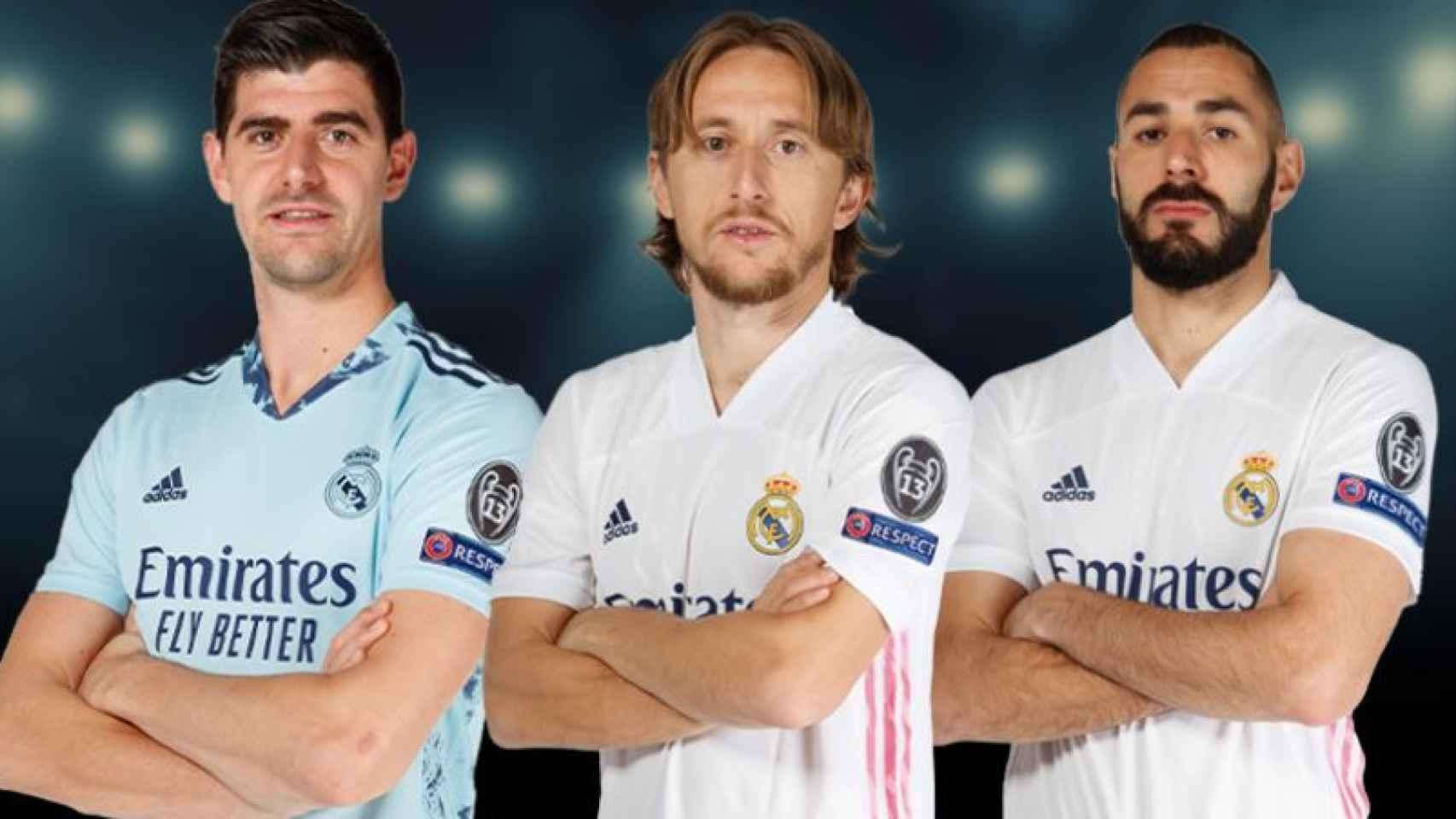 Thibaut Courtois, Luka Modric y Karim Benzema