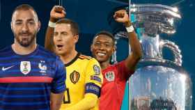 Karim Benzema, Eden Hazard y David Alaba, en un fotomontaje con el trofeo de la Eurocopa