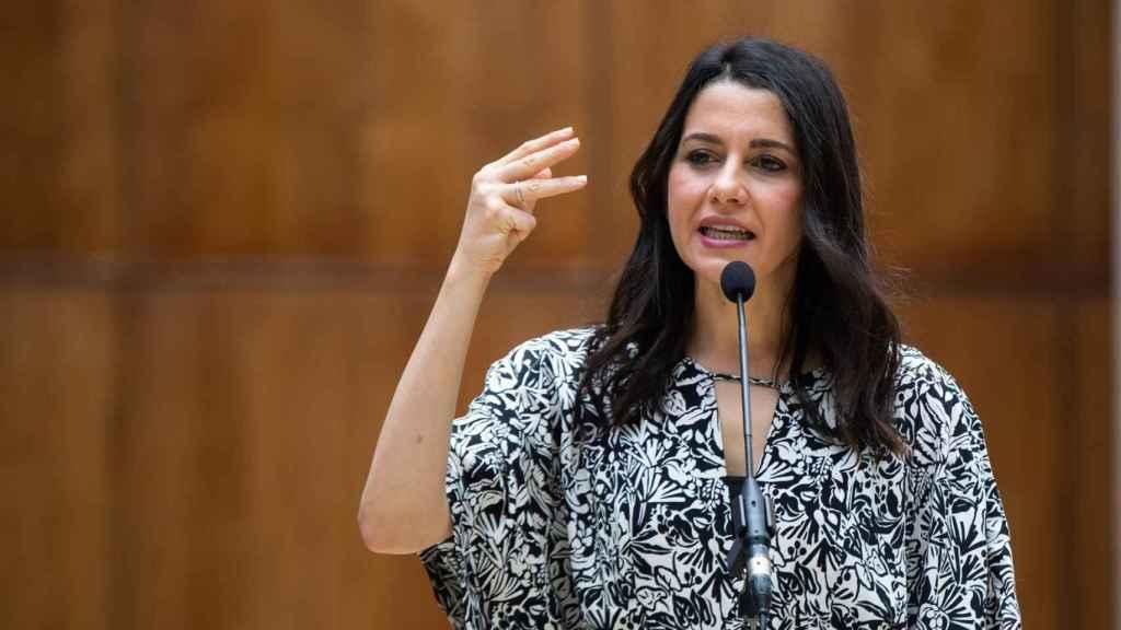 La líder de Cs, Inés Arrimadas, en el Parlamento andaluz.