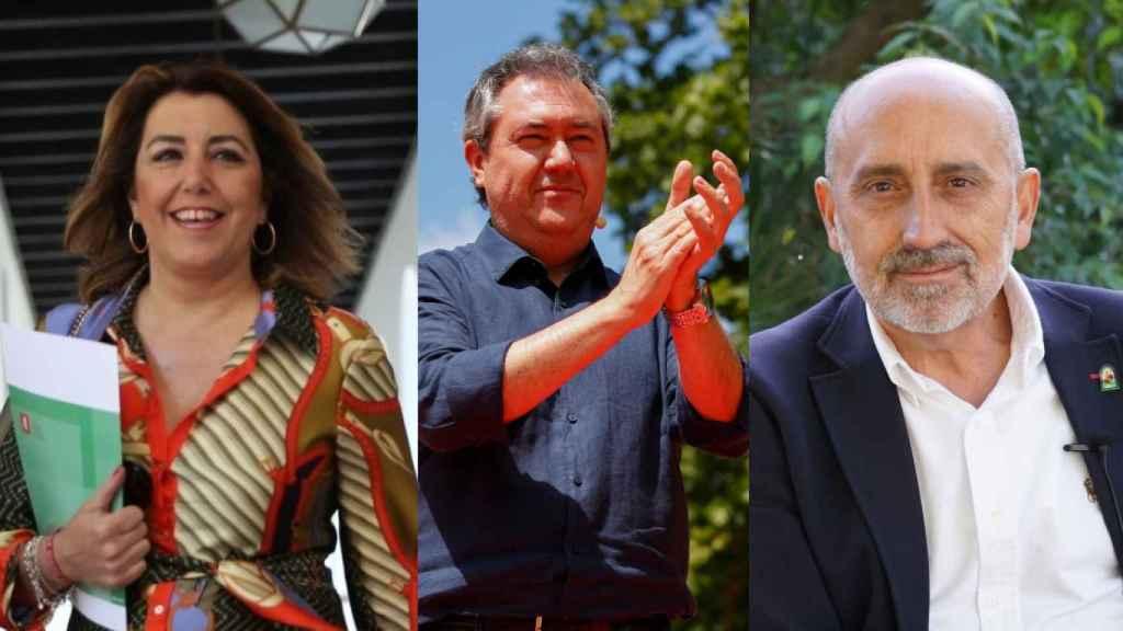 Los tres candidatos a las primarias del PSOE-A, Susana Díaz, Juan Espadas y Luis Ángel Hierro.