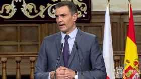 Pedro Sánchez, presidente del Gobierno, en la rueda de prensa posterior a la Cumbre bilateral entre España y Polonia, en Alcalá de Henares.