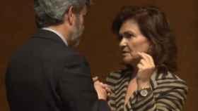 Carlos Lesmes y Carmen Calvo, en una imagen de archivo./