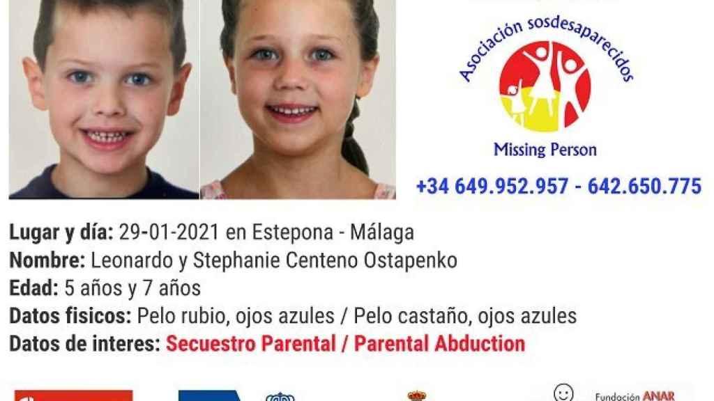 Leonardo y Stephanie Centeno Ostapenko, los niños de 5 y 6 años desparecidos en Málaga.