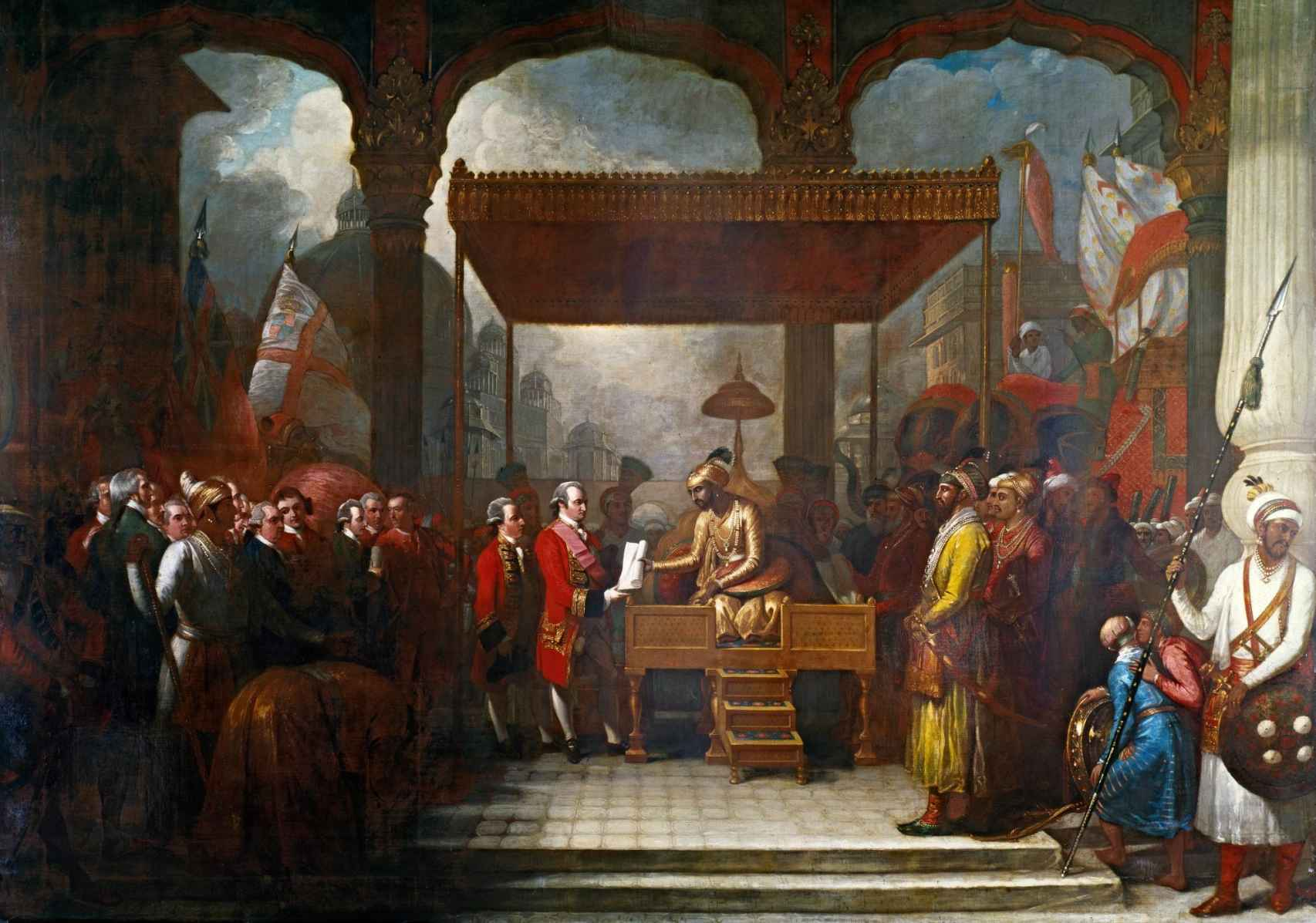 'Shah Alam otorga el diwani a lord Clive'. Un cuadro de Benjamin West.