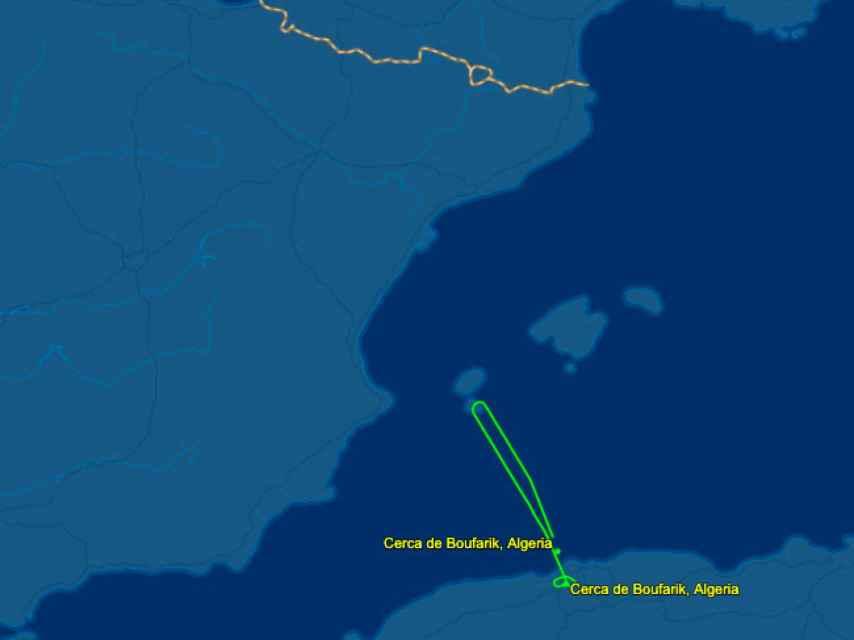 Recorrido del avión que en la mañana de este martes iba a trasladar a Ghali.