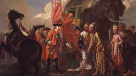 'Robert Clive se encuentra con Mir Jafar tras la batalla de Plassey'. Un lienzo de Francis Hayman.