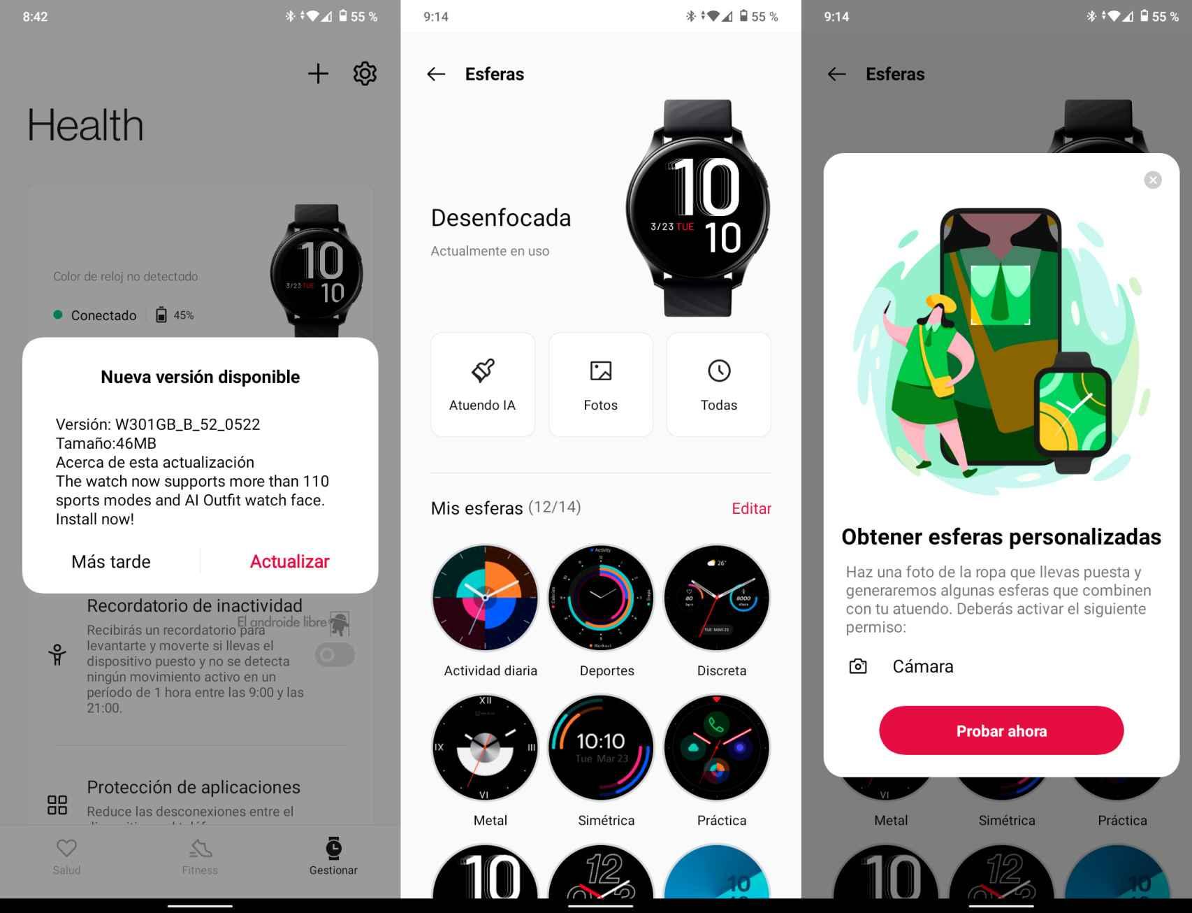 Interfaz de la app OnePlus Health