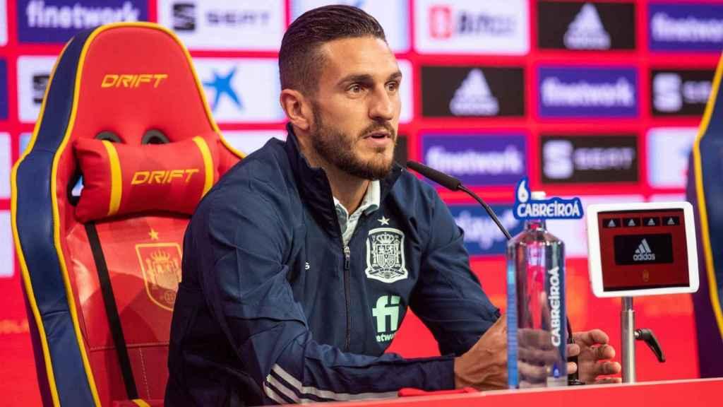 Koke Resurrección, en rueda de prensa con la selección de España