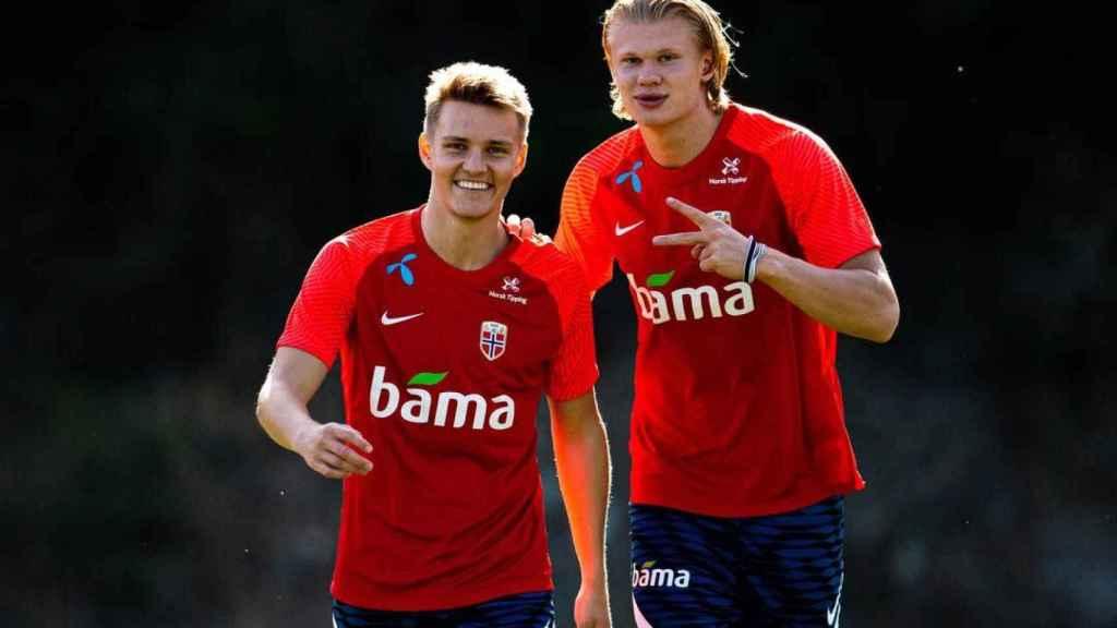 Odegaard y Haaland, con Noruega