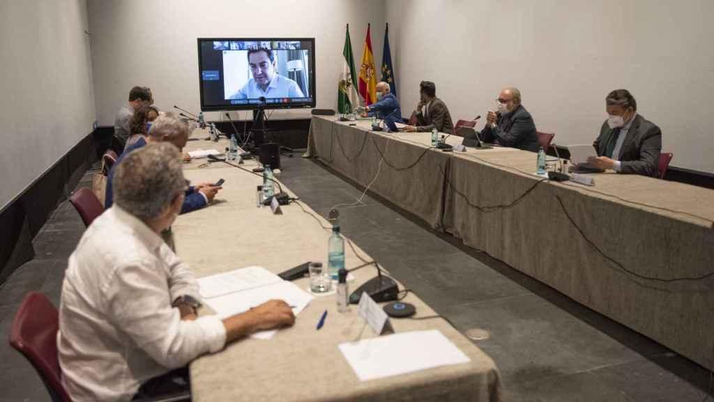 El presidente de la Junta, Juanma Moreno, preside el comité de expertos de manera telemática.
